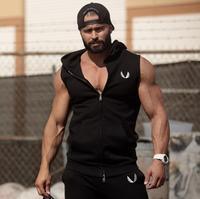 Men Cotton Hoodie Sweatshirts Fitness Clothes Gyms Bodybuilding Tank Top Men Sleeveless Gasp Tees Shirt Casual