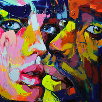 Palette knife painting portrait Palette knife Face Oil painting Impasto figure on canvas Hand painted Francoise Nielly 12-17