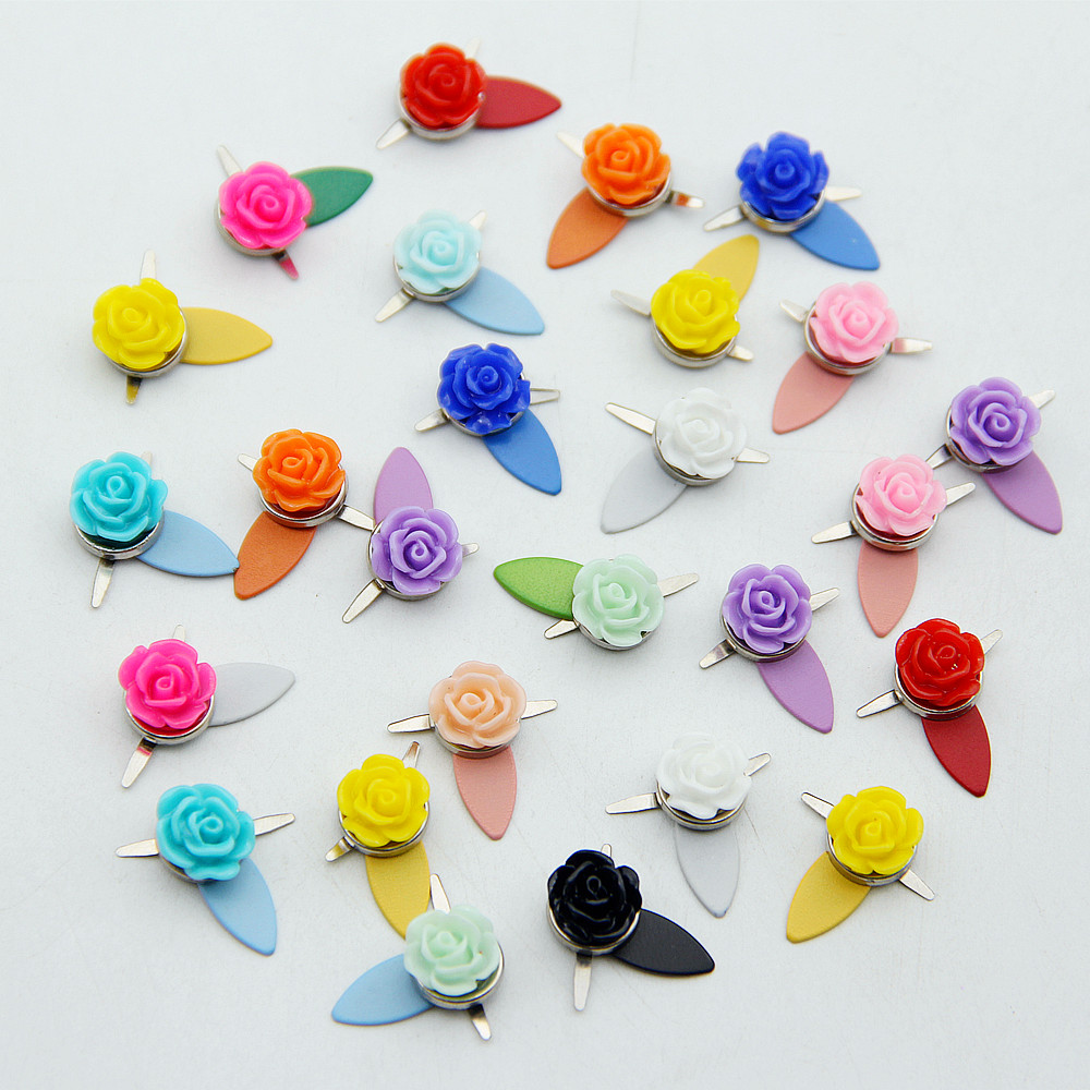Colorful Flower Brads Rotating Buttons Scrapbooking Embellishment Fastener Metal Mini Brad Set For DIY Album Frame Decor Crafts