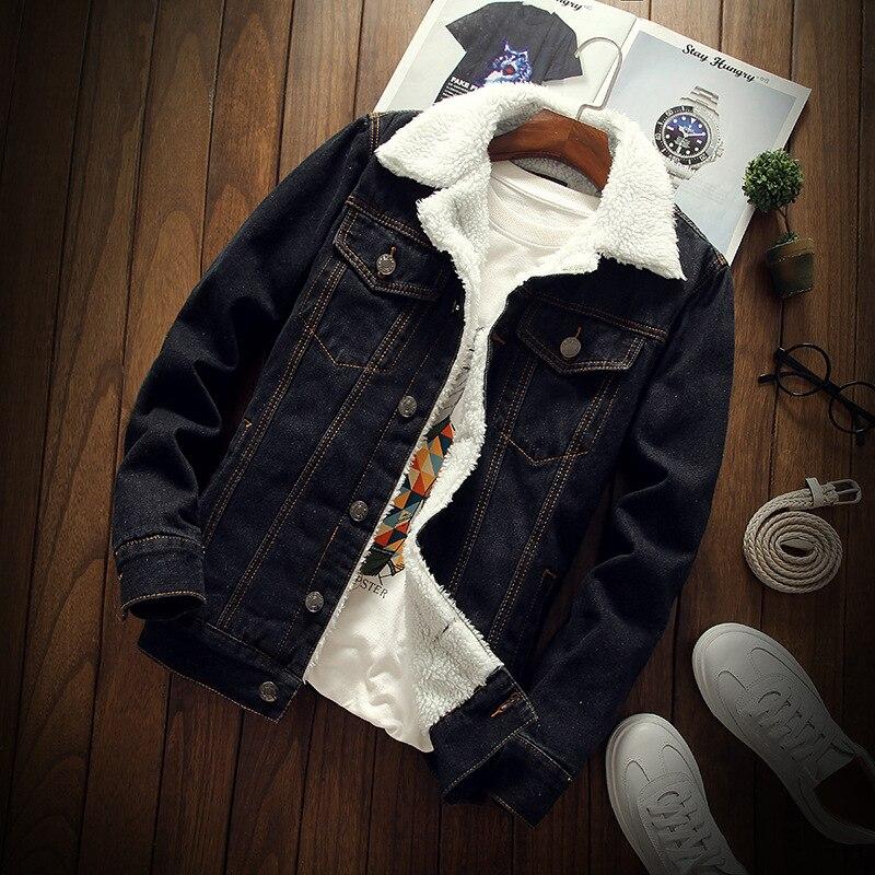 Mode Hiver Veste Hommes Faux Cachemire Épais Parka Vintage Noir Casual Chaud Manteau Denim Velvet Bomber Veste jaqueta masculina