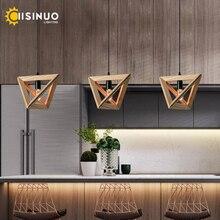 Lámpara colgante moderna de madera lámpara colgante de cuerda colgante Iluminación lámparas E27 Bases tipo restaurante bar café suspensión luminaria