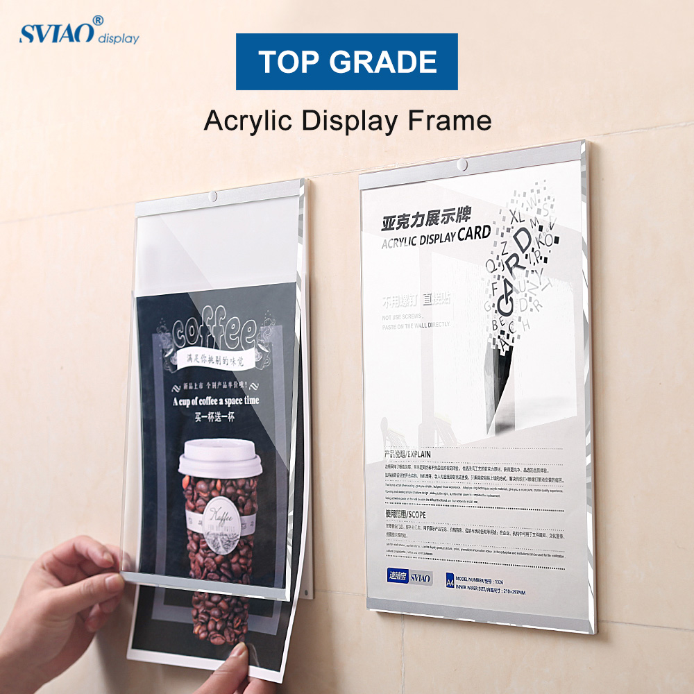 A3 Wall Mount Self-adhesive Magnetic Acrylic Paper Photo Picture Poster Sign Holder Board Frame School Accessories