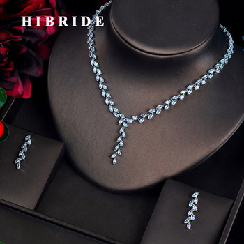 HIBRIDE New Style AAA Cubic Zirconia Women Jewelry Sets Earring Necklace Charm Design Wedding Jewelry Sets N-614