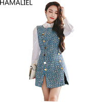 HAMALIEL Korean Women 2 Piece Set Dress 2017 Designer White Blouse Top Casual Vest Tweed Double
