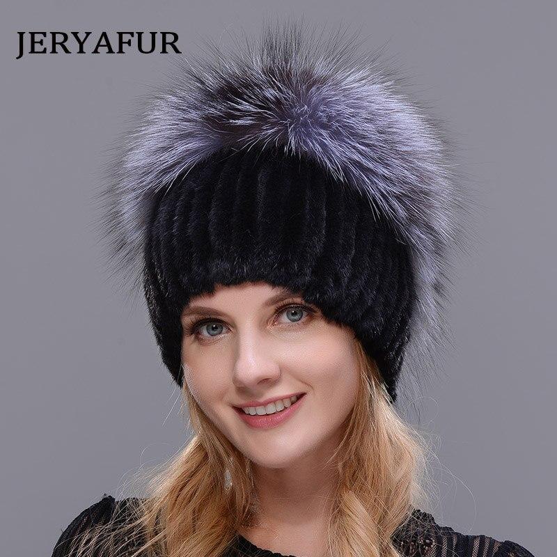 JERYAFUR 2018 новый стиль Натуральная меховая шапка лиса норковая меховая шапка зимняя женская натуральная Вертикальная Высокое качество модная...
