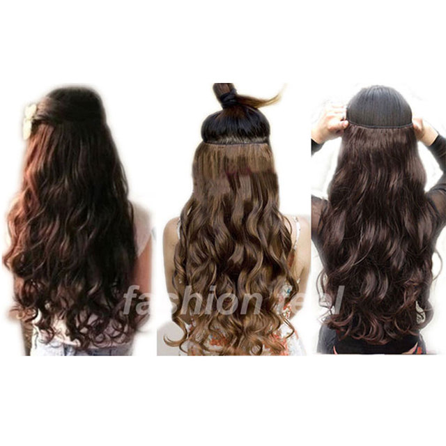 Super Long one piece 5 clips in hair extensions amazing curly/Wavy synthetic hair 3/4 full head