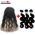 3 pc Brazilian Hair Weave Bundles With 360 Lace Frontal Band Closure Brazilian Virgin Hair With 360 Full Frontal baby hair
