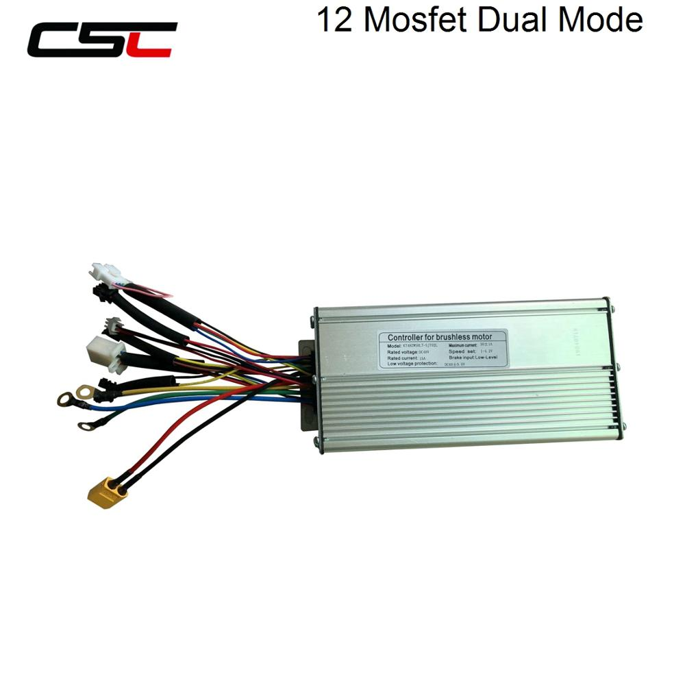 48V Electric Bike Dual Mode Controller 1000W Bicycle Brushless Controller Hall Sensor KT Series Support LED