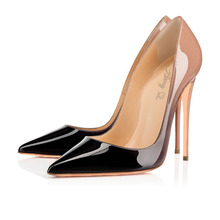 Amy.Q+New  Sexy Women Shoes Gradient Patent  Leather Pointy Evening  Pumps High Heel  Dress Ladies Party Shoes  Black and Nude