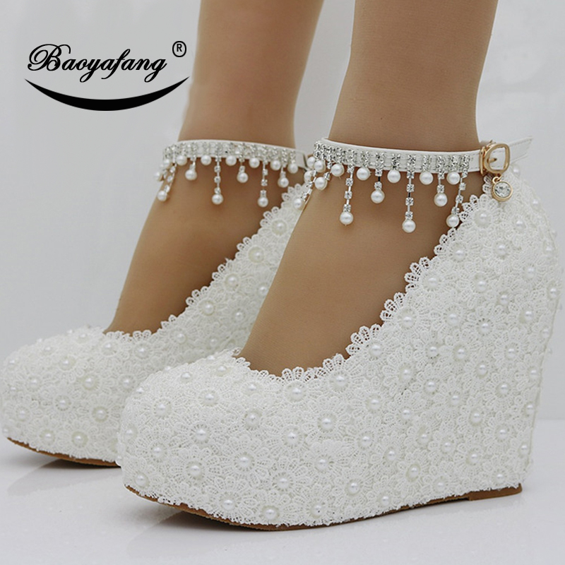 BaoYaFang New Wedges White pink Lace up Wedding shoes woman 11cm High heels shoes Bridesmaid fashion