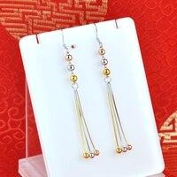 S925 sterling silver earrings plated gold long Korean fashion earrings hypoallergenic sterling silver wild women