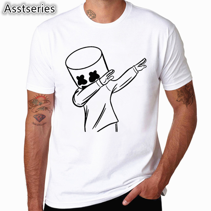 Marshmello Face   T     Shirts   Men Print Funny   T  -  shirt   Short Sleeve Boy Casual Men And Woman Tops Tees Plus Size HCP4561