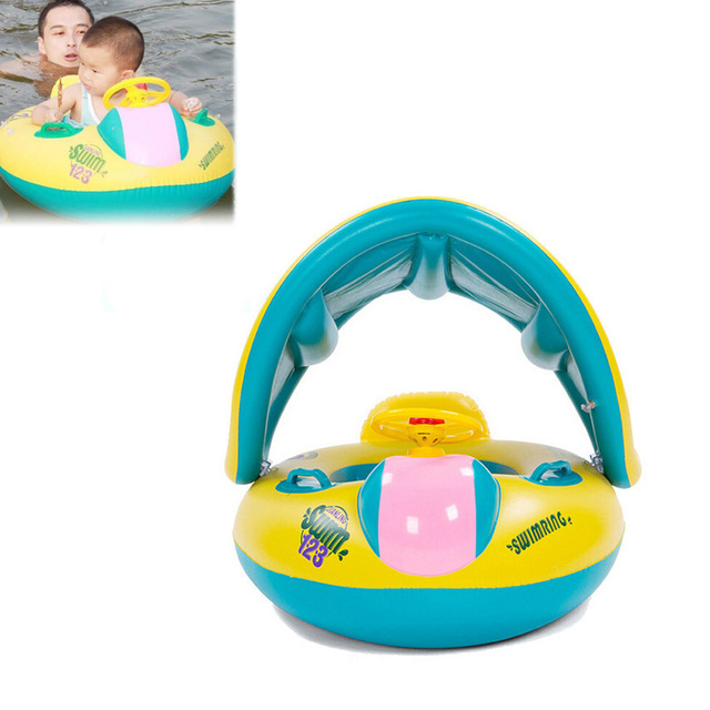 Nueva Seguridad Del Bebé Infant Swimming Flotador Inflable Sombrilla Ajustable Asiento Del Barco Anillo de La Piscina de Natación de Alta Calidad