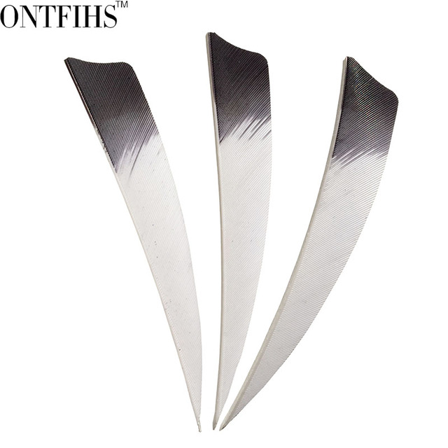 50pcs ONTFIHS 4″ RW Archery Fletches Natural Turkey Feather White & Red Black pink yellow Shield Cut Fletching Feathers