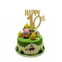 Cake Topper Gold Happy 30th 40 50 60 Wedding Birthday Party Decoration