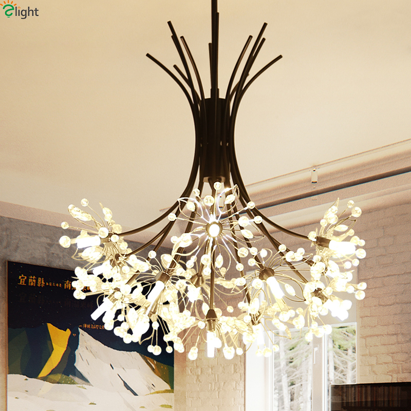 Modern Black Metal Led Pendant Lights Crystal Beads Dining Room Led Pendant Lamp Bedroom Led Pendant Light Hanging Light Fixture modern 3 6 lights crystal glass clear wineglass wine glass ceiling light lamp bedroom dining room fixture gift ems ship