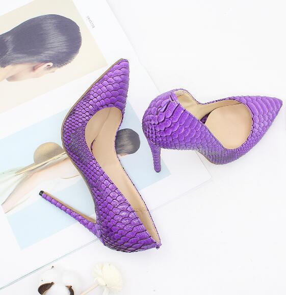Женская обувь с острым носком, фиолетовые туфли лодочки из змеиной кожи на высоком каблуке 12 см, белые, красные, черные, 35 44, 2019 - 2