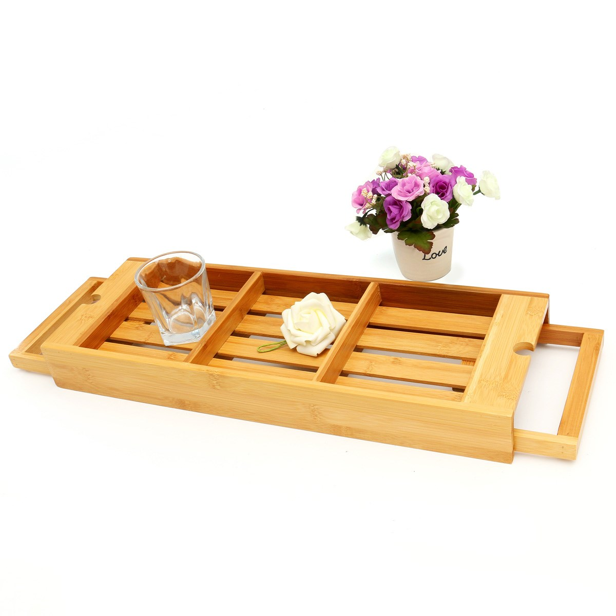 Bamboo Bathtub Storage Rack Holder Extendible 3 Compartments Bath ...