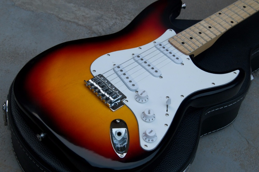 best price f stratocaster st 6 strings electric guitar sunburst color free shipping in stock in. Black Bedroom Furniture Sets. Home Design Ideas