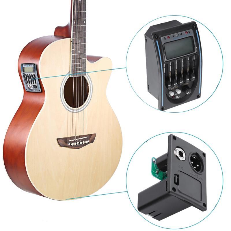 LC-5 5 Bands Akustische Gitarre Pickup EQ Preamp LCD Tuner Piezo Pickup Funktion für Gitarre Chromatischer Baß-ukulele Violine Schwarz