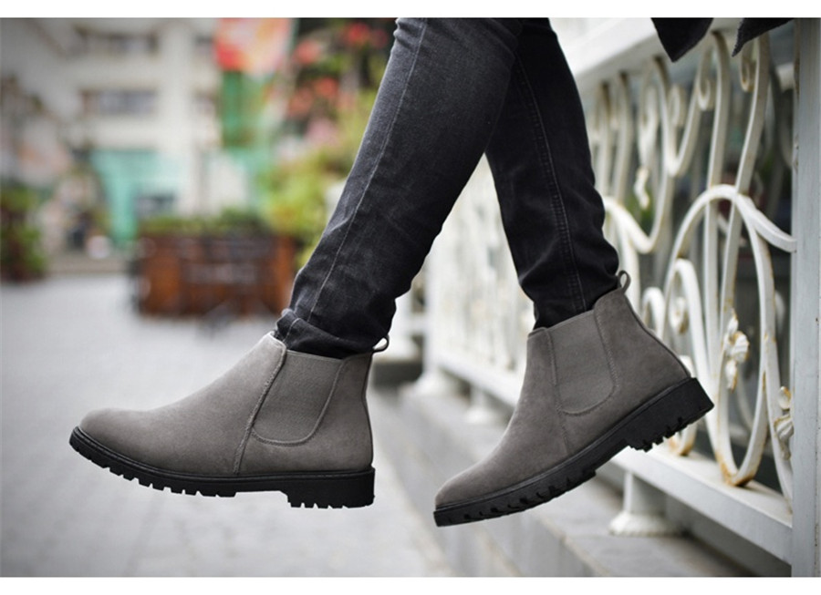 PINSV Chelsea Boots Men Shoes Ankle Boots Men Cow Suede Leather Boots For Men Trendy Autumn Shoes Bota Masculina 8