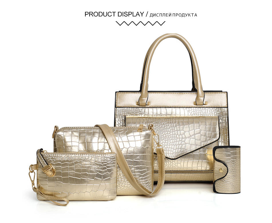Crocodile Women Bag Patent Leather Women Handbags Set Large Capacity Shoulder Bag+Wallet