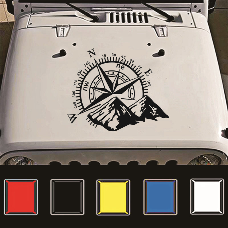 1pcs 3D Mountains Compass Navigation Vehicle Sticker Compass Rose Navigate Mountain 4x4 Offroad Vinyl Sticker Decal Car Decal