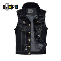 Fashion Men`s Black Denim Vest Ripped Acid Washed Distressed Slim Fit Sleeveless jacket For Male M 6XL Plus Size