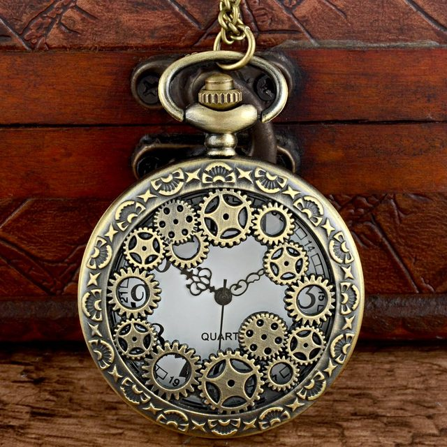 Classic Vintage Bronze Steampunk Gear Quartz Pocket Watch with Chain Retro Men W