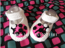 Crochet pattern baby shoes Soft white Ladybug infant knitted first walker shoes 0-12M baby shoes