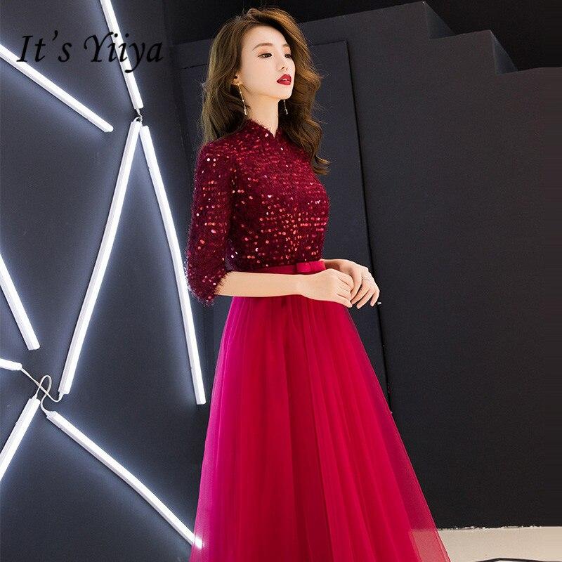C'est YiiYa robe de soirée demi manches paillettes longues robes de bal longueur de plancher col haut fermeture éclair une ligne grande taille robes de soirée E101