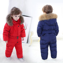 2018 winter snowsuits Boy Girls Overalls Rompers baby Duck Down Jumpsuit Real Fur children clothing set kids jacket Enfant Parka(China)