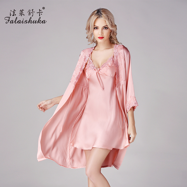 New Women Pure Silk Nightgowns Two-Piece Robe Sets 100% Mulberry Silk Bathrobes Pijama Sexy V-Neck Princess Sleepwear S841
