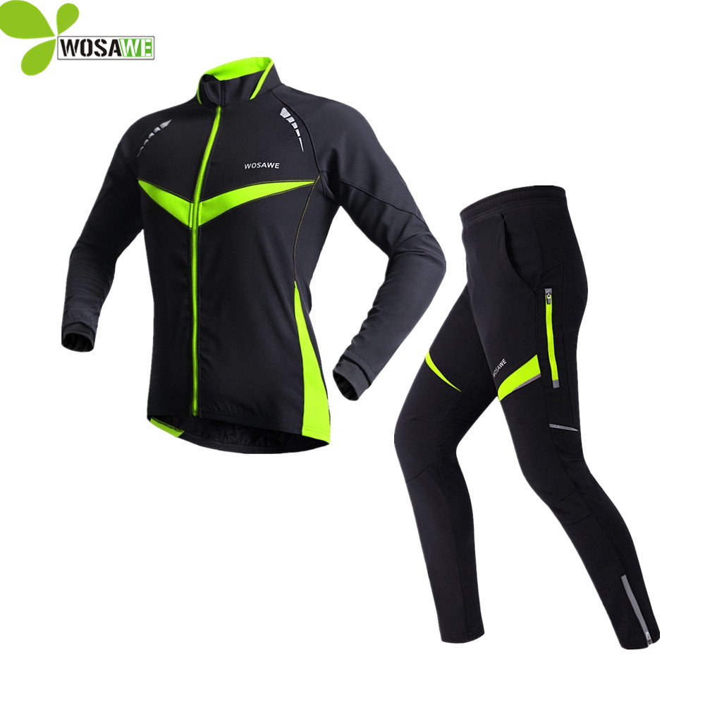 WOSAWE Waterproof windproof Fleece Thermal winter Coat Cycling jackets men suit Long Sleeve Riding coat Set Cycling Clothing