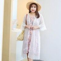 MINSUNDA Plus Size Lace Contrast Dot Mesh Kimono Cardigan Summer Flare Sleeve Sheer Beach Kimono Women Longline Vacation Kimono