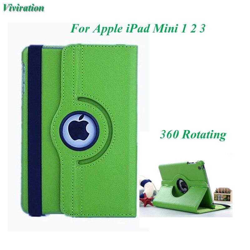 Viviration Vert Nouveau Mode Couverture de Stand Pour Apple iPad mini 1 2 3 Anto Réveil/Sommeil Flip Tablet Cas Smart 360 Tournant couverture