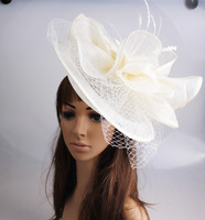 Fancy kolor sinamay fascinator ślubne nakrycia głowy z piór koktajl party pokaż włosów akcesoria ślubne welony modniarstwo kapelusz MYQ112