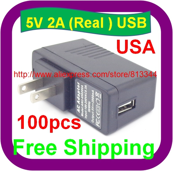 100 pcs Free Shipping 5V 2A USB Charger AC/DC Adapters Wall Home Office charger for PDA DV mp3 mp4 player ipad