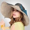 2016 Novo Senhora Boné de Aba Larga Dobrável Chapéu de Sol Feminino Protetor Solar Grande Chapéu de Aba do chapéu de Praia Cap Chapéu de Sol de Palha B-2292