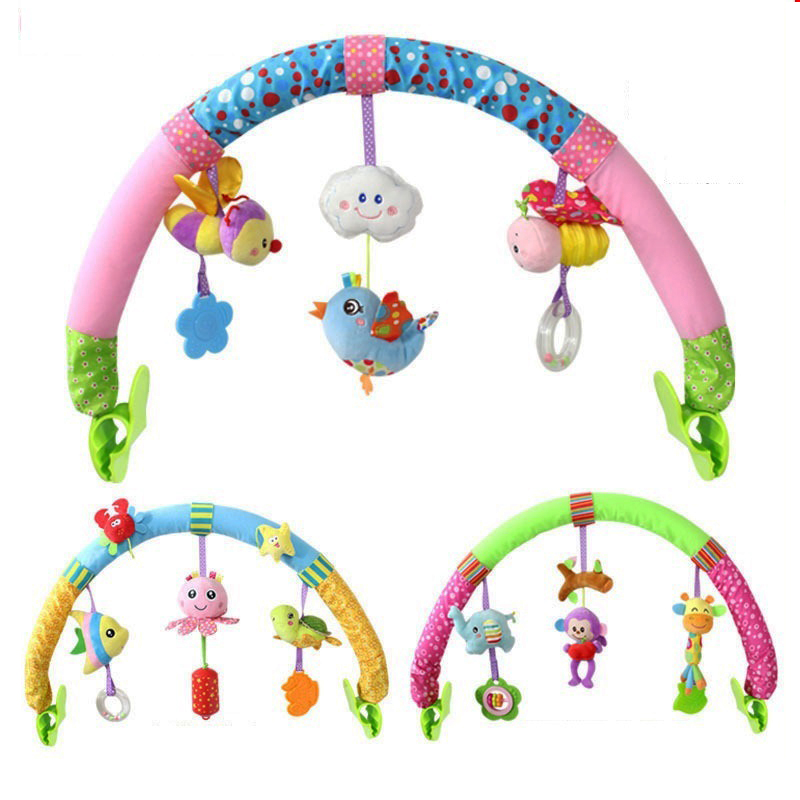 Mignon bébé Handbell jouets en peluche lit poussette dessin animé Animal infantile en plein air voyage intérieur apaisé main jouet hochets garçons filles cadeau