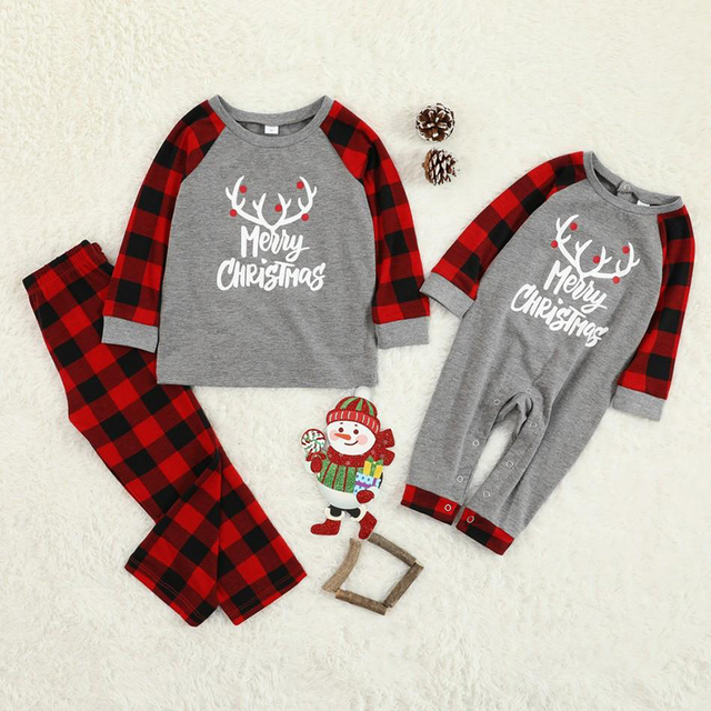 Christmas Family Pajamas Set Christmas Clothes Parent-child Suit Home Sleepwear New Baby Kid Dad Mom Matching Family Outfits 1