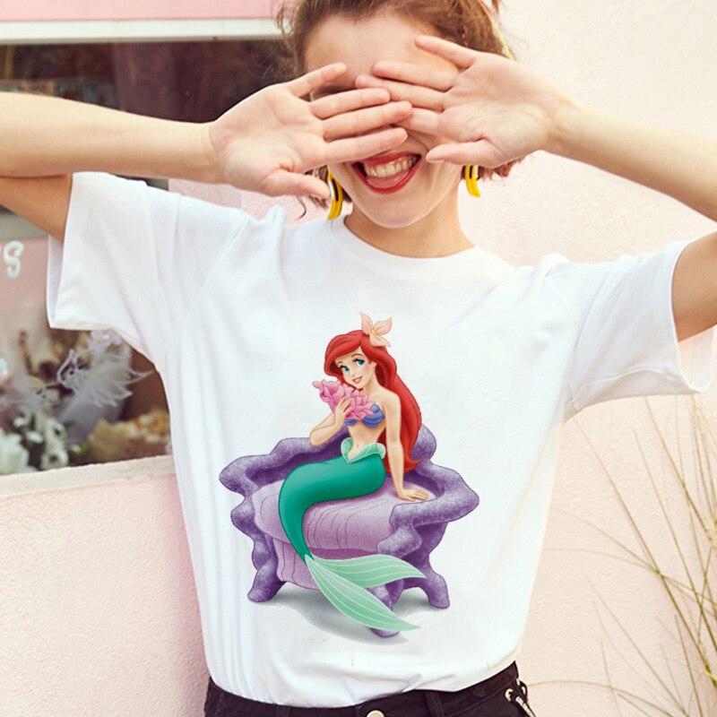Cartoon mermaid Printed Tshirt Summer Thin Section Tops Female Clothing   T     shirt   Women Harajuku White Femme Short Sleeve   T  -  shirt