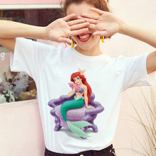 Cartoon mermaid Printed Tshirt Summer Thin Section Tops Female Clothing T shirt