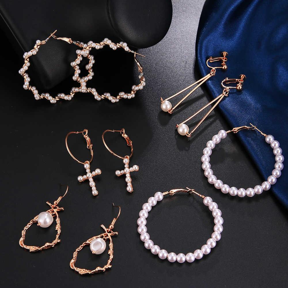 สวยสีขาวตกแต่งเพิร์ล Hoop ต่างหูสำหรับสาวงานแต่งงานพิเศษเครื่องประดับขายส่งอุปกรณ์เสริมสำหรับสาว