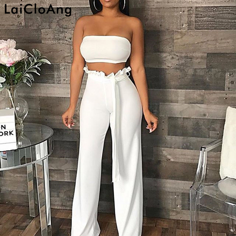 LaiCloAng Strapless Sexy Two Piece Set Jumpsuit Autumn Sashes Loose Rompers Womens Jumpsuit Backless Casual Bodysuit Women 2018