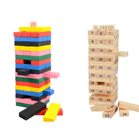 55 Pieces Wooden Tower Wood Toy Domino Stacker Extract Figure Blocks Jenga Game Healthy Funny Children