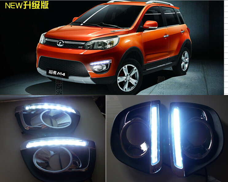 цена на Free Shipping 2012-2014 Great Wall Haval M4 Daytime Running Light Fog light High Quality LED DRL LED car fog lamp 12V 2pcs