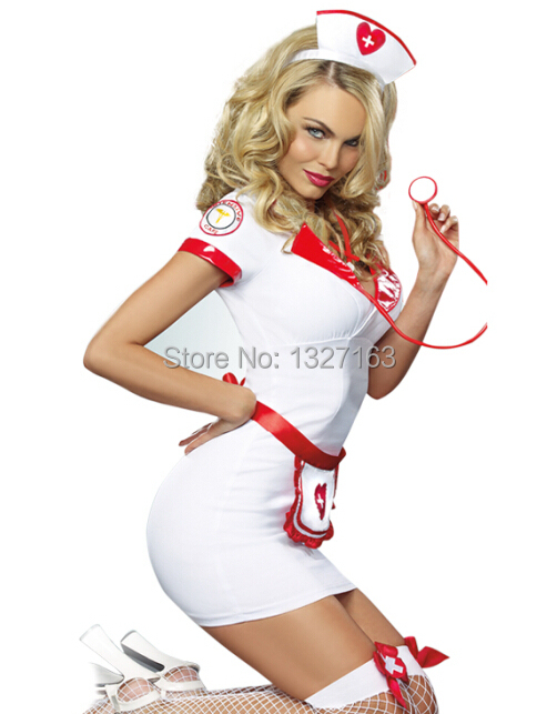 Sexy Nurse costumes lingerie cosplay 810 Uniform temptation Costume with G string and hat drop shipping