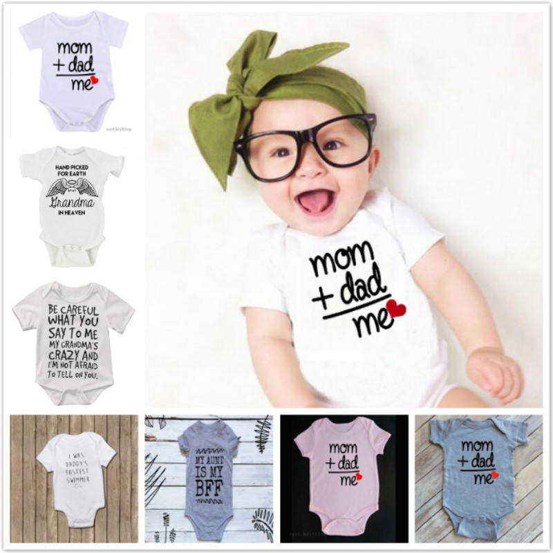 Newborn Toddler Baby Boy Girl Dad+Mom = Me Outfit Costume Romper Short Sleeve Clothes Baby Roupa De Bebe Infant Jumpsuits 0-24M