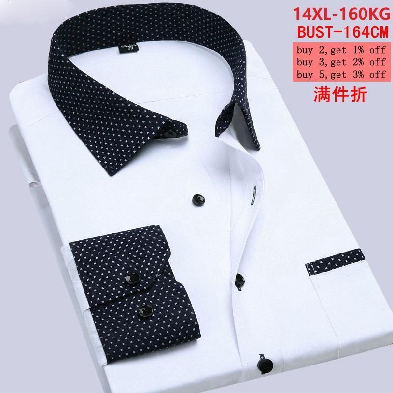Large Size 7XL 8XL 9XL Autumn And Winter Men's 10XL 11XL 12XL 13XL 14XL 160 Kg Long-sleeved Lapel Business Classic White Shirt